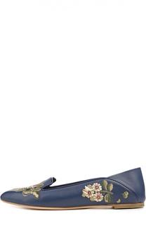 Кожаные лоферы с вышивкой Alexander McQueen