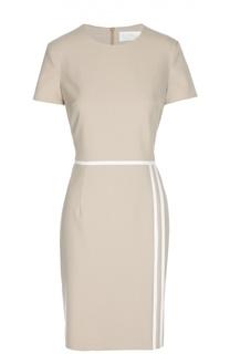 Приталенное платье с коротким рукавом и контрастной отделкой BOSS
