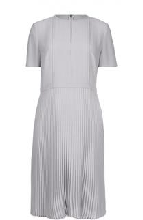 Приталенное платье-миди с плиссированной юбкой BOSS