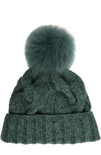 Кашемировая шапка Courchevel с меховым помпоном Loro Piana