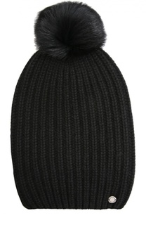 Кашемировая шапка с помпоном из меха лисы Woolrich