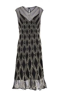 Шелковое платье прямого кроя с декоративной отделкой Dries Van Noten