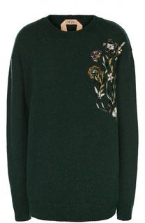 Удлиненный пуловер с цветочной вышивкой No. 21