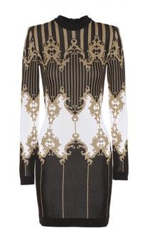 Облегающее платье с длинным рукавом и контрастным принтом Balmain