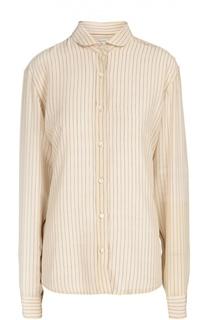 Шелковая блуза прямого кроя в полоску Dries Van Noten