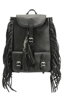 Кожаный рюкзак Festival small с бахромой Saint Laurent