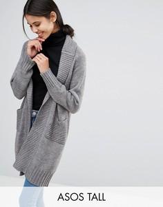Пальто-кардиган со спинкой в рубчик ASOS TALL - Серый