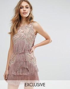 Платье мини с бахромой и декоративной отделкой A Star Is Born - Коричневый