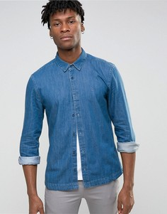 Синяя рубашка слим Waven - Синий