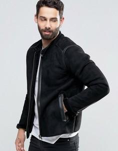 Байкерская куртка слим из искусственной овечьей шерсти Pretty Green - Черный