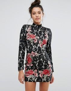 Платье мини с кружевом и аппликацией роз Missguided Peace + Love - Черный