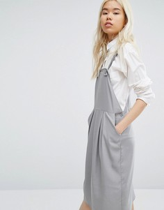 Native Youth Minimal Pinafore Midi Dress - Серый