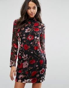 Missguided Floral Flocked Bodycon Mini Dress - Мульти