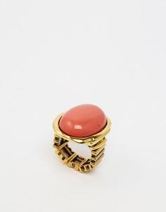 Регулируемое кольцо с большим камнем Design B - Золотой