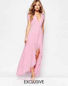 Платье макси с асимметричным краем Fame and Partners Radiant Angel - Розовый