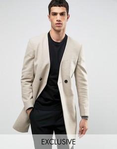 Строгое пальто без лацканов Noak - Бежевый