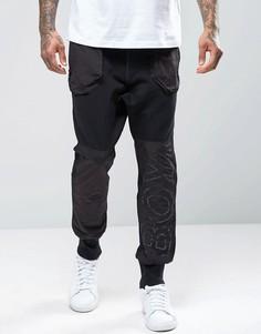 Спортивные штаны с манжетами и вставками с логотипом Boy London - Черный