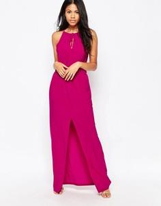 Платье макси с завязкой у горловины Love - Розовый