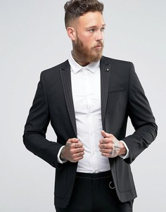 Суперузкий пиджак с лацканами в горошек ASOS - Черный