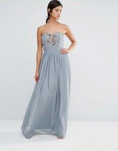 Платье макси в стиле бандо с вышивкой Maya - Серый
