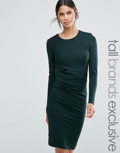 Платье-футляр с длинными рукавами и сборками по бокам Y.A.S Tall - Зеленый