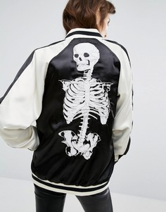 Tripp NYC Skull Print Reversible Bomber Jacket - Белый
