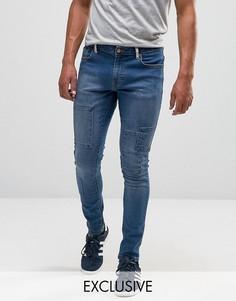 Выбеленные супероблегающие джинсы со вставками Brooklyn Supply Co - Синий