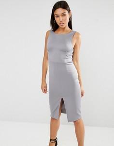 Облегающее платье миди с бретельками Lavish Alice - Серый