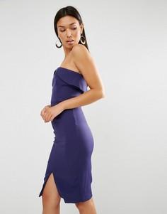 Платье миди бандо Lavish Alice - Темно-синий