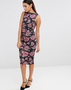 Платье-футляр без рукавов с цветочным принтом и сборками Vesper - Розовый