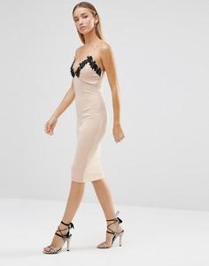 Облегающее платье миди с отделкой кроше и глубоким вырезом AX Paris - Кремовый