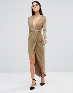 Платье миди с длинными рукавами и декольте Rare - Зеленый