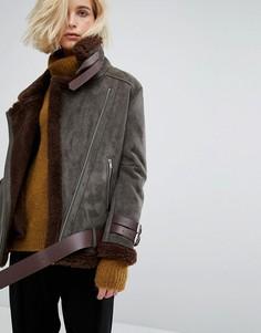 Байкерская oversize-куртка с подкладкой из искусственной цигейки J.O.A - Зеленый