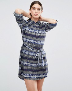 Платье-рубашка с принтом слона AX Paris - Темно-синий