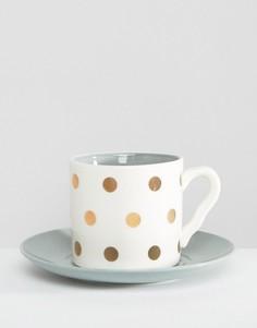 Чашка в горошек с фигуркой совы и блюдце House of Disaster - Мульти