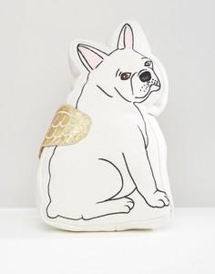 Белая подушка с дизайном бульдога Sass & Belle - Мульти