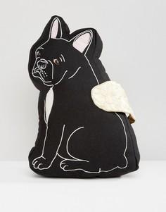 Черная подушка с дизайном бульдога Sass & Belle - Мульти