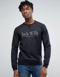 Черный свитшот с принтом и рукавами реглан Jack Wills - Серый