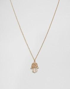 Позолоченное ожерелье с подвеской-хамса Nylon - Золотой