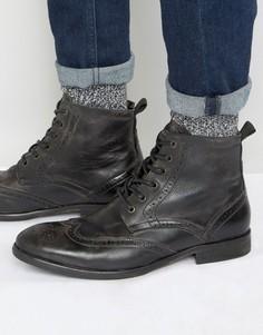 Кожаные ботинки-броги Hudson London Simpson - Черный