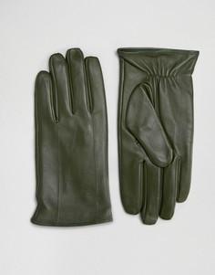 Кожаные перчатки цвета хаки Barneys - Зеленый Barneys Originals
