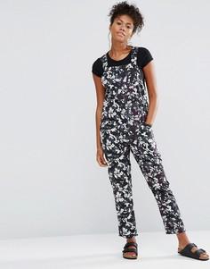 Комбинезон с цветочным принтом Neon Rose - Черный