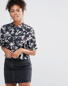 Блузка с цветочным принтом Neon Rose - Черный