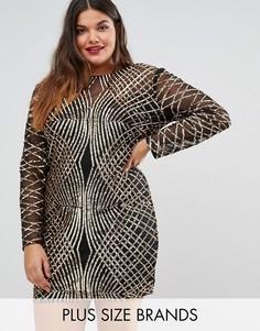 Платье с узором из пайеток Club L Plus - Золотой