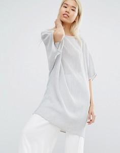 Длинный oversize-топ из жатой ткани Native Youth - Серый