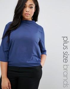 Блузка с высокой горловиной Elvi Plus - Темно-синий