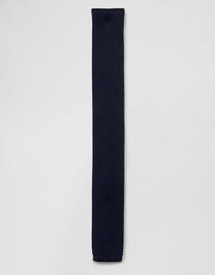 Синий вязаный галстук 7X - Черный