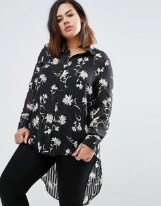 Блузка с цветочным принтом и удлиненным краем сзади Koko Plus - Черный
