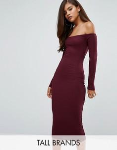 Облегающее платье в рубчик с широким вырезом Missguided Tall - Фиолетовый