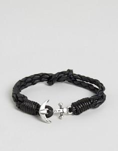 Черный кожаный браслет с якорем Icon Brand - Черный